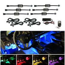 6pcs/Set Pods 7-Color RGB LED Flexible Neon Underbody & Interior Motorcycle Car Accent Lighting Kit+Wireless Remote Control