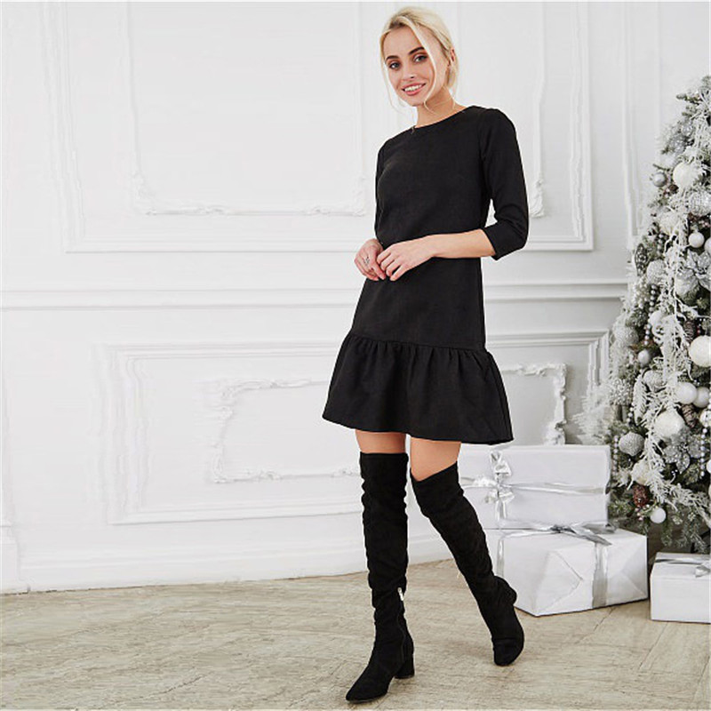 Fall 2018 Women Suede Casual Three Quarter Sleeve T Shirt Mini Dress Autumn Winter Fashion Vintage Ruffle Christmas Dresses 3