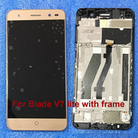 New For ZTE Blade V7 Lite LCD Assembly Display+Touch Screen Replacement Gold For ZTE V7 Lite Phone Glass sensor lens with frame