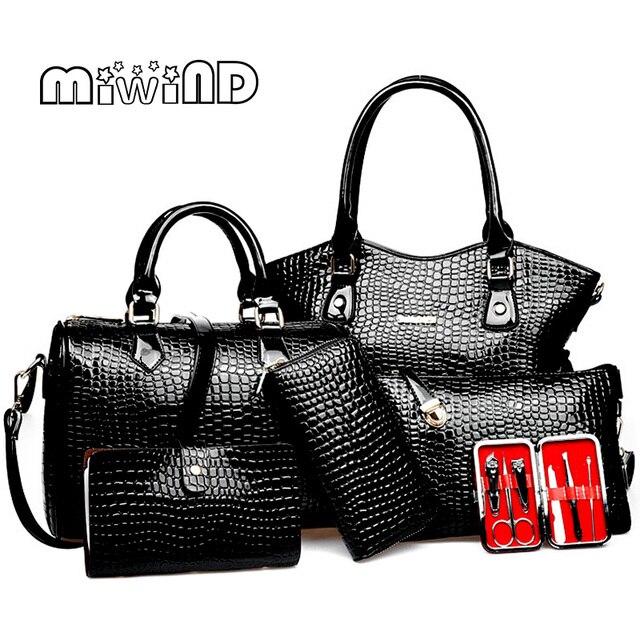 50ebfaf470645 2019 جديد المرأة حقيبة حقائب يد جلدية أزياء حقائب كتف الإناث محفظة عالية  الجودة ستة قطعة