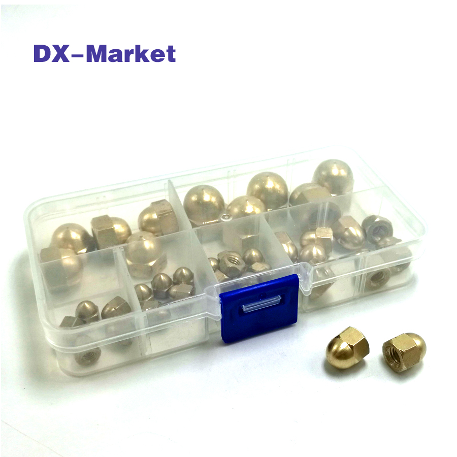 m3 m4 m5 m6 m8 m10 brass acorn nut kit , 50pcs waterproof brass nuts copper nut fasteners