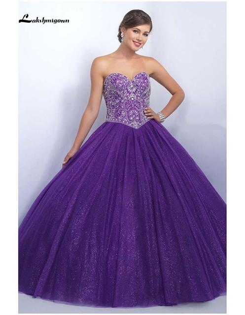 Vestidos Quinceanera roxo Vestidos de Baile Sweetheart Frisada Cristais Tulle Vestidos De 15 Años 15 Anos Vestido de Debutante Vestido