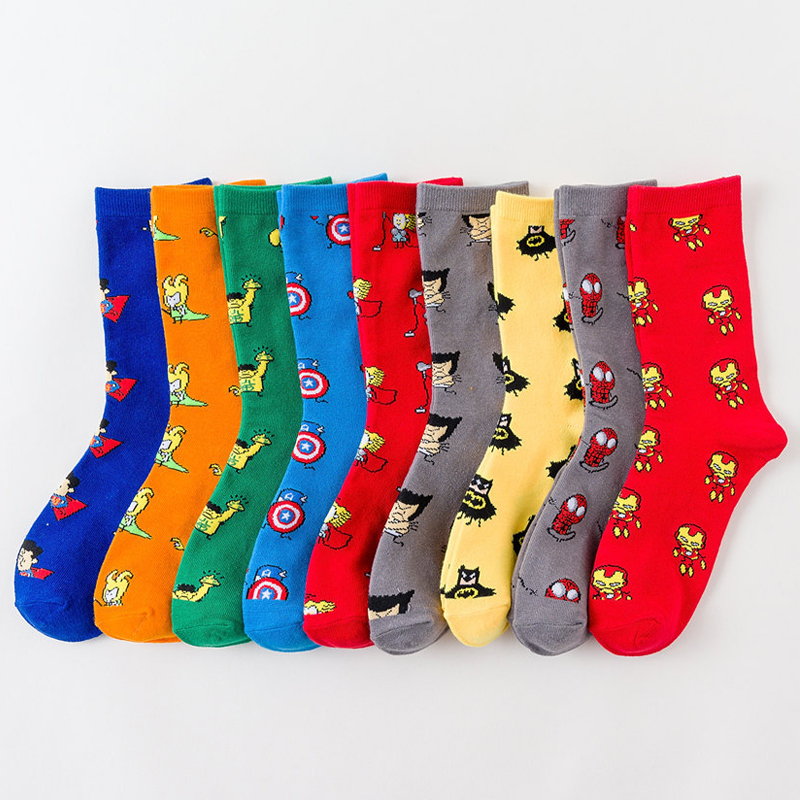 Men Socks Marvel Novel Comics Avenger Captain America Cartoon Socks Batman Superman Iron Man Hulk Socks Women Cotton Couple Sox