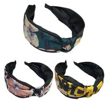 Korean Imitation Silk Ladies Wide Headband Handmade Twist Bowknot Vintage Hair Hoop Leopard Floral Print Women Accessories