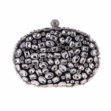 Bamboo Charm Fashion Solid Womens Evening Party Clutch Pouch Hasp Crystal Handbag Case Metal Chain Shoulder Bag Crossbody Flap