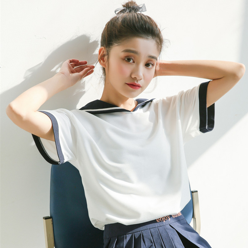 2018 New Japan Style Cute Sailor Collar Short Sleeve T Shirt Women Summer Casual Loose Tops Tees Woman Kawaii T-shirts