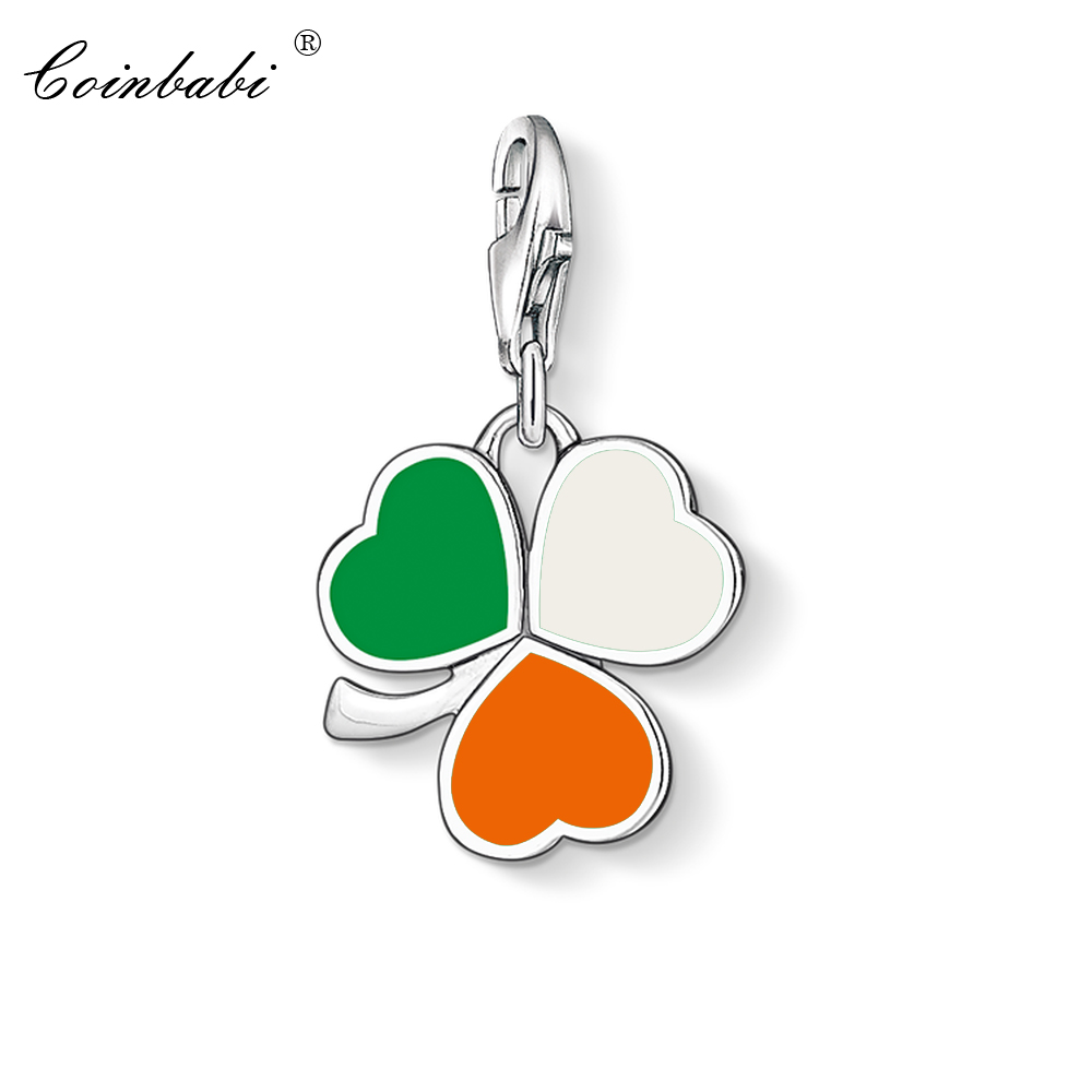 Charm Pendant Irish Cloverleaf,2018 Fashion Jewelry Trendy Real Pure 925 Sterling Silver Gift For Women Fit Bracelet NecklaceCharm Pendant Irish Cloverleaf,2018 Fashion Jewelry Trendy Real Pure 925 Sterling Silver Gift For Women Fit Bracelet Necklace
