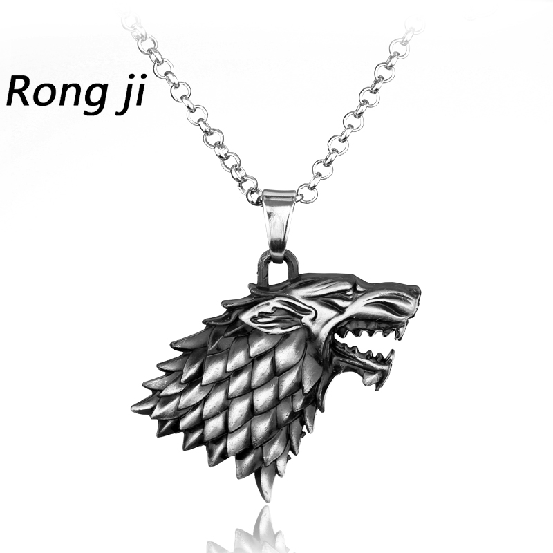 Vekt 40g Game of Thrones Stark Familie Goshawk Head Badge Wolf Chain Necklace Anheng Menn Kvinner Smykker