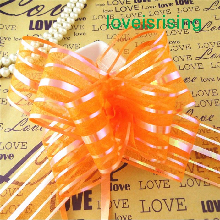 50pcs/lot, 5cm Large Size Orange Color Organza Pull Bows For Wedding Car Decor Wedding Organza Pull Flower Ribbons Gift Wrap