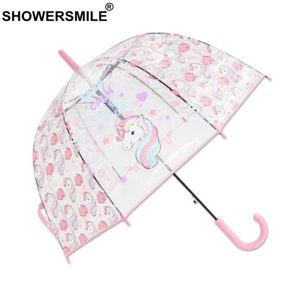 SHOWERSMILE Единорог детский зонтик прозрачный дождевой Зонт Детский мультфильм Девочка Мальчики дождь и солнце милый розовый свадебный brolly