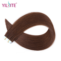 YILITE 16''~18 Dark Brown Remy Tape In Human Hair Extension Full Cuticle Seamless Straight Skin Weft Tape Hair 20pcs/pack