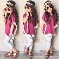 Niñas Chándal Floral T-shirt + Jeans Niñas Ropa de Verano Princesa Vetement Enfant Fille Chica de Moda Conjuntos