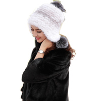 Harppihop New Arrival Real Mink Caps Women Handmade Knitted Mink Fur Beanies Fur Hats With Pom Poms Free Shipping