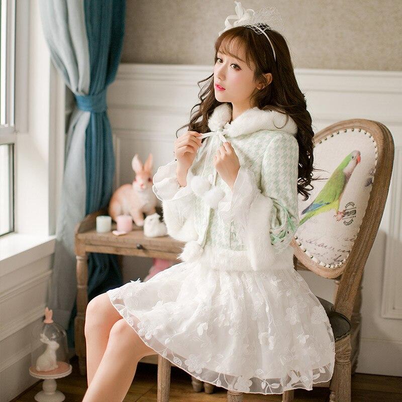 Princess sweet lolita Green Grid jacket Candy rain Plush hat fur ball Sweater jacket Slim long sleeved  Japanese designC16CD6163