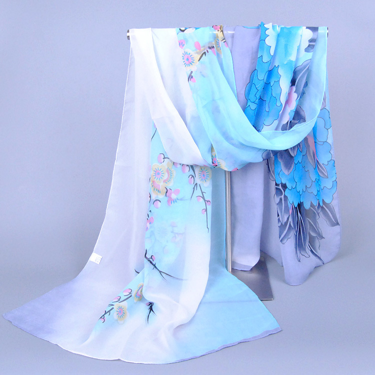 Spring Autumn Chiffon Floral Printed   Scarf     Wrap   160*50CM Flower Beach   Wrap   Shawl for Women Wholesale