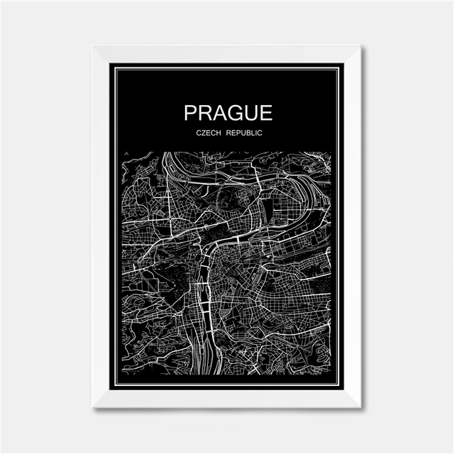 Prague city world map poster abstract vintage paper print picture bar cafe pub living room bedroom