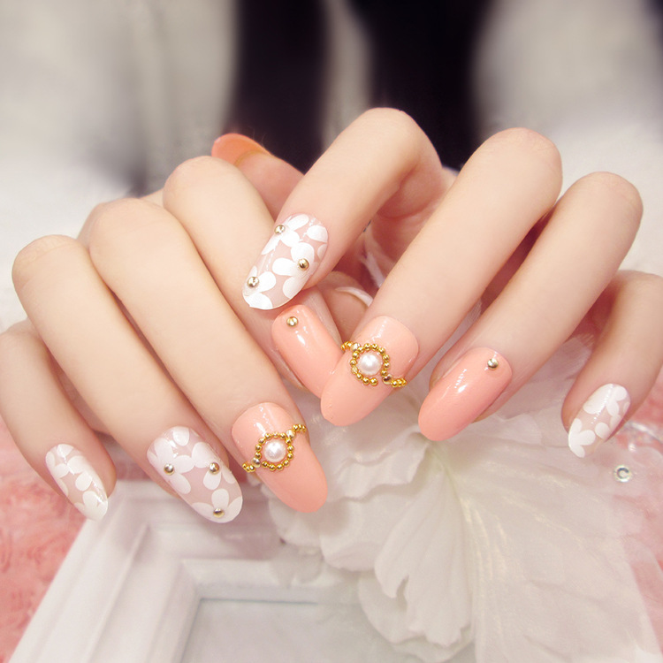 New 24pcs fashion pink base white floral pearl Nail Acrylic full cover False Nail Fake Nails art Tips Stickers with GLUE in decorative leopard pattern false nail tipsw glue black golden 24pcs