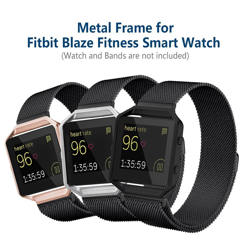 For Fitbit Blaze Smart Fitness Watch Frame Stainless Steel Replacement Holder Cover Shell Metal Case Bezel Black Gold Sliver crested stainless steel metal frame case cover shell for fitbit blaze replacement case activity tracker smart watch accessories