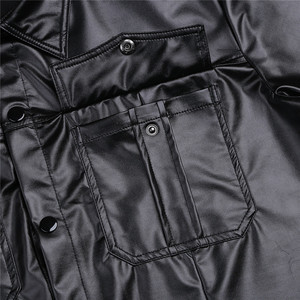 Image 4 - Męskie seksowne miękkie faux skórzane koszulki męskie czarne koszulki obcisłe koszule podkoszulki jako mundur policyjny topy z kołnierzem w dół