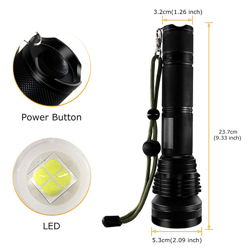 PANYUE 2PCS LED Tactical Flashlight Torch XHP50 High Power 5000 Lumens LED Aluminum Flashlight Torch Powered by 2 18650 Battery in LED Flashlights from Lights Lighting