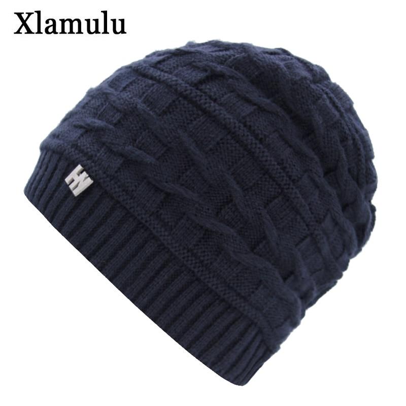 Xlamulu Brand Fashion Skullies Beanies Women Knitted Hat Winter Hats For Men Women Gorros Bonnet Knitting Warm Male Beanie Caps