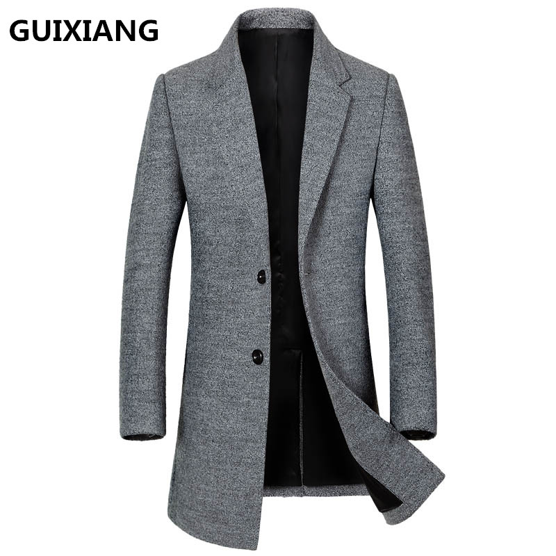 GUIXIANG 2017 Winter Mens fashion thicken trench coat jacket Mens high quality casual trench coat jackets wool men windbreak