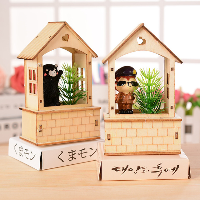 Fairy House Wood Crafts Cartoon Garden Ornaments Pastoral Luminour