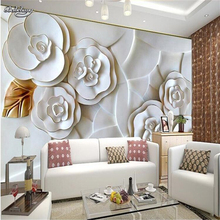 Custom photo wallpaper embossed wall paper painting modern minimalist living room TV background white roses 3d