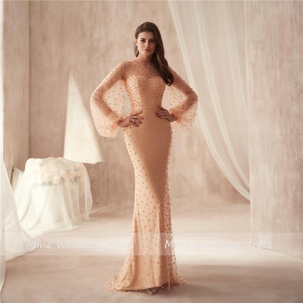 O-neck Champagne Heavy Beading Pearls Long Sleeves Saudi Arabia Prom Dress Sheath Long Evening Dress Party Formal Dresses