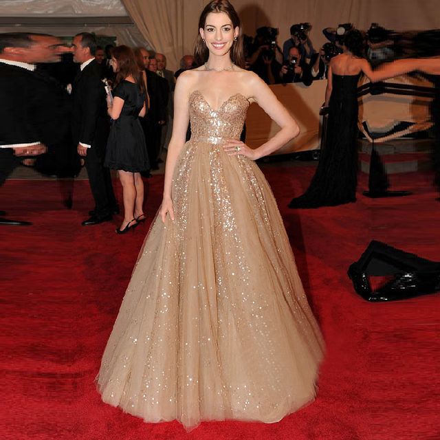 Long Evening Dress Sparkling Formal  Anne Hathaway Celebrity Dresses Sweetheart Sequins Evening Gowns Champagne Prom Dress