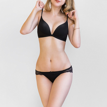 New Arrival wire free Cotton Comfortable Thin cup underwear set Girl Bra Set Push Up Lingerie Pants Set lace intimates