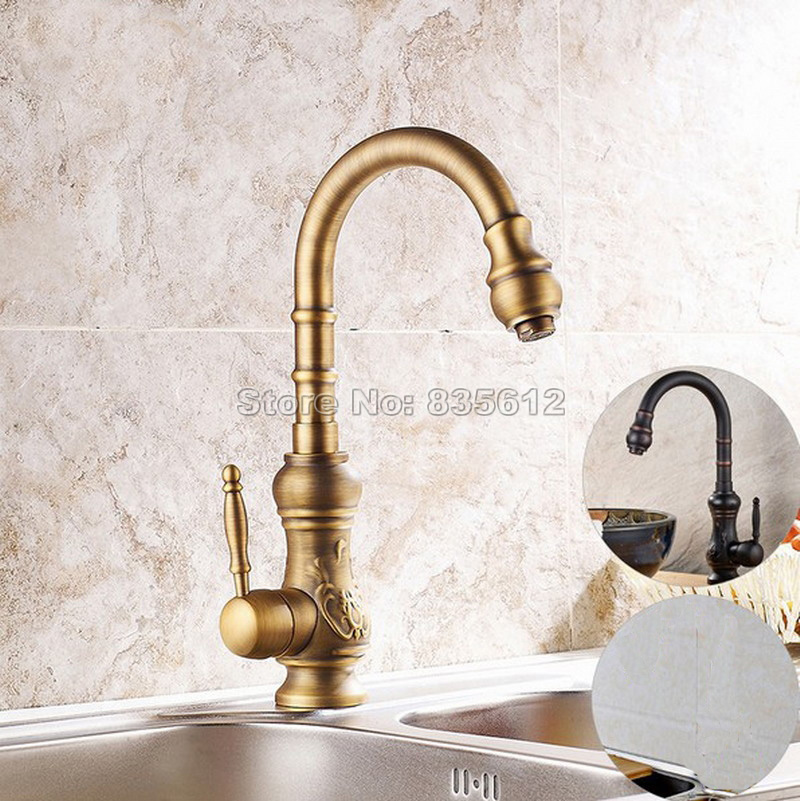 Black Oil Rubbed Brass & Antique Brass Single Handle Kitchen Faucet Swivel Spout Sink Mixer Washbasin Tap Deck Mounted Wdk004 gooseneck swivel spout kitchen sink faucet antique brass single hole deck mounted single handle vessel sink mixer taps wsf080