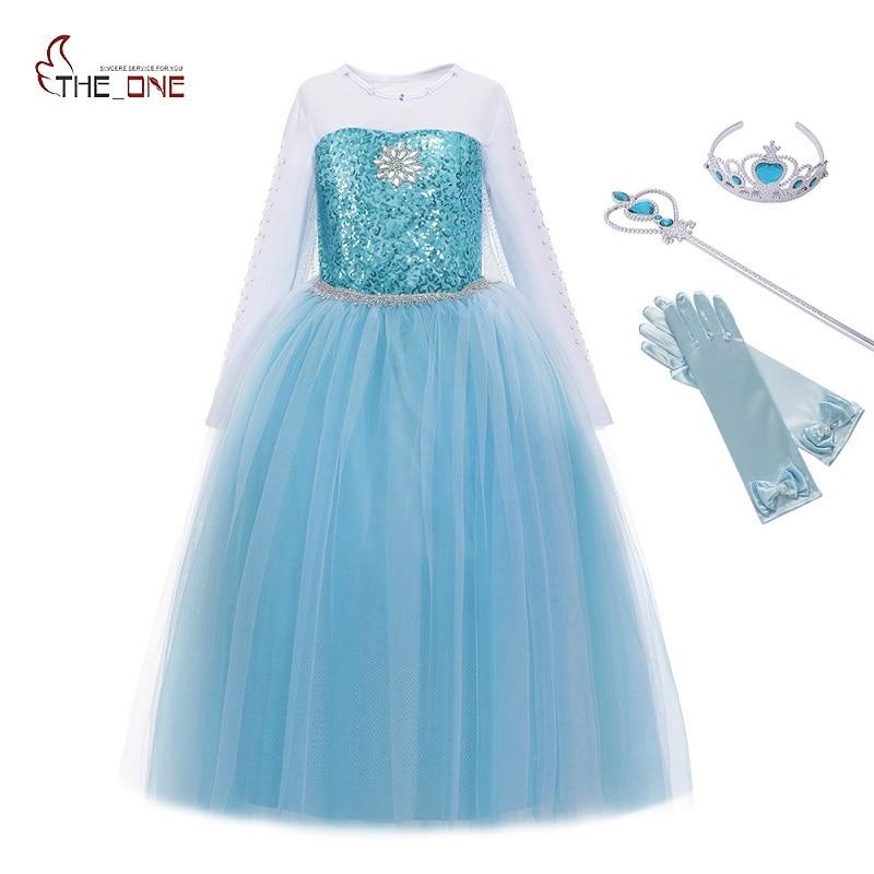 MUABABY Mädchen Elsa Kostüm Blau Schnee Königin Prinzessin Kleid up mit Lange Zug Halloween Weihnachten Party Pailletten Cosplay Fantasie