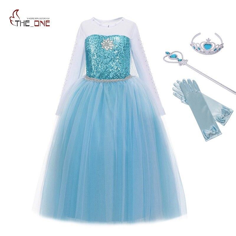 MUABABY niñas Elsa traje azul nieve princesa vestido con tren largo fiesta de Navidad de Halloween lentejuelas Cosplay Fantasía