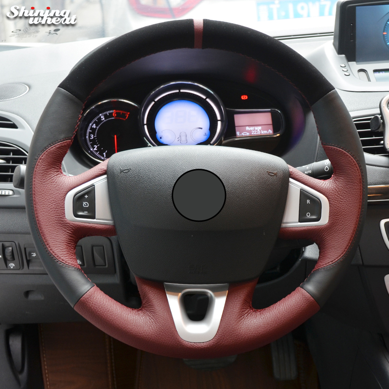 Shining wheat Red Black Leather Steering Wheel Cover for Renault Fluence Fluence ZE 2009-2016 Kangoo 2013-2016 Scenic 2010-2015