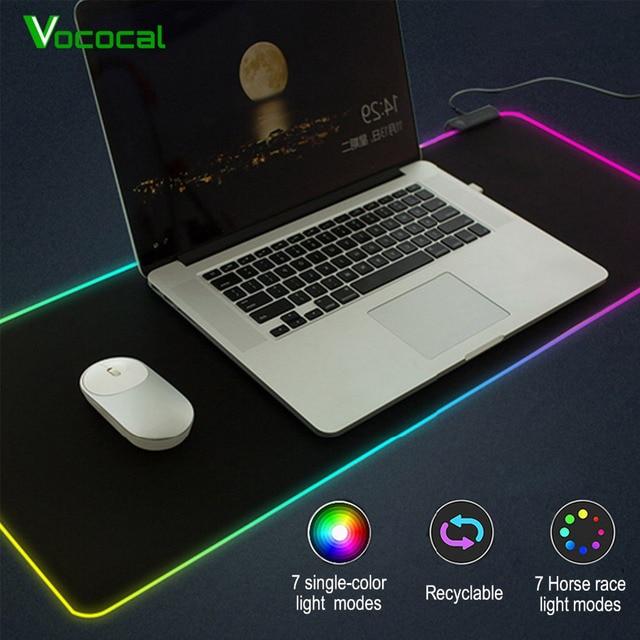Vococal grande LED RGB alfombrilla de ratón USB con cable iluminación Gaming Gamer alfombrilla de ratón para ordenador Overwatch Pubg Dota 2 borderlands