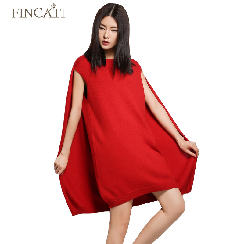 Women Dress 2018 Fincati Womens Spring Autumn Cashmere Blend O-Neck Sleeveless Cloak Back Double Layer Knitted Cape Sweater hot sale open front geometry pattern batwing winter loose cloak coat poncho cape for women
