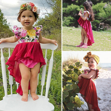 цена на Pudcoco Summer Girls Dresses Toddler Baby Clothes Girls Ruffles Tulle Irregular Party Princess Dress Kids Clothing Toddler Dress