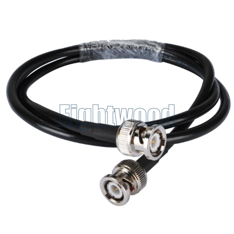 Eightwood RF coaxial coax adapter cable assembly BNC male to BNC male straight Pigtail RG58 Cable 3-foot