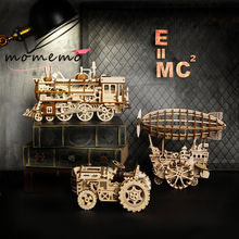 MOMEMO 3 Kinds 3D Wooden Model Puzzle Laser Cutting Mechanical Game DIY Clockwork Gear Moveable Assembly Toy