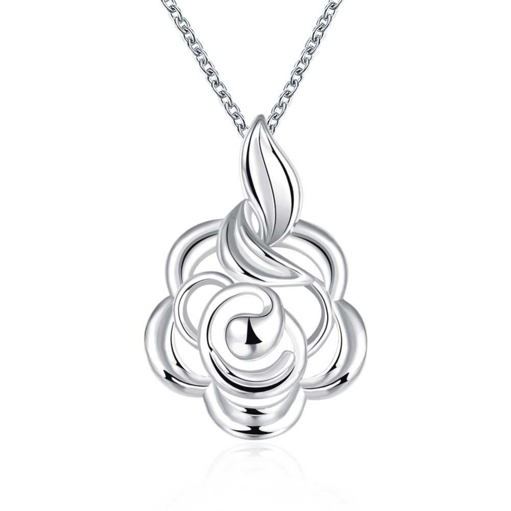 n773 925 sterling silver jewelry fine fashion big loverly wonderful flower  tag necklace pendant for women wedding jewerly
