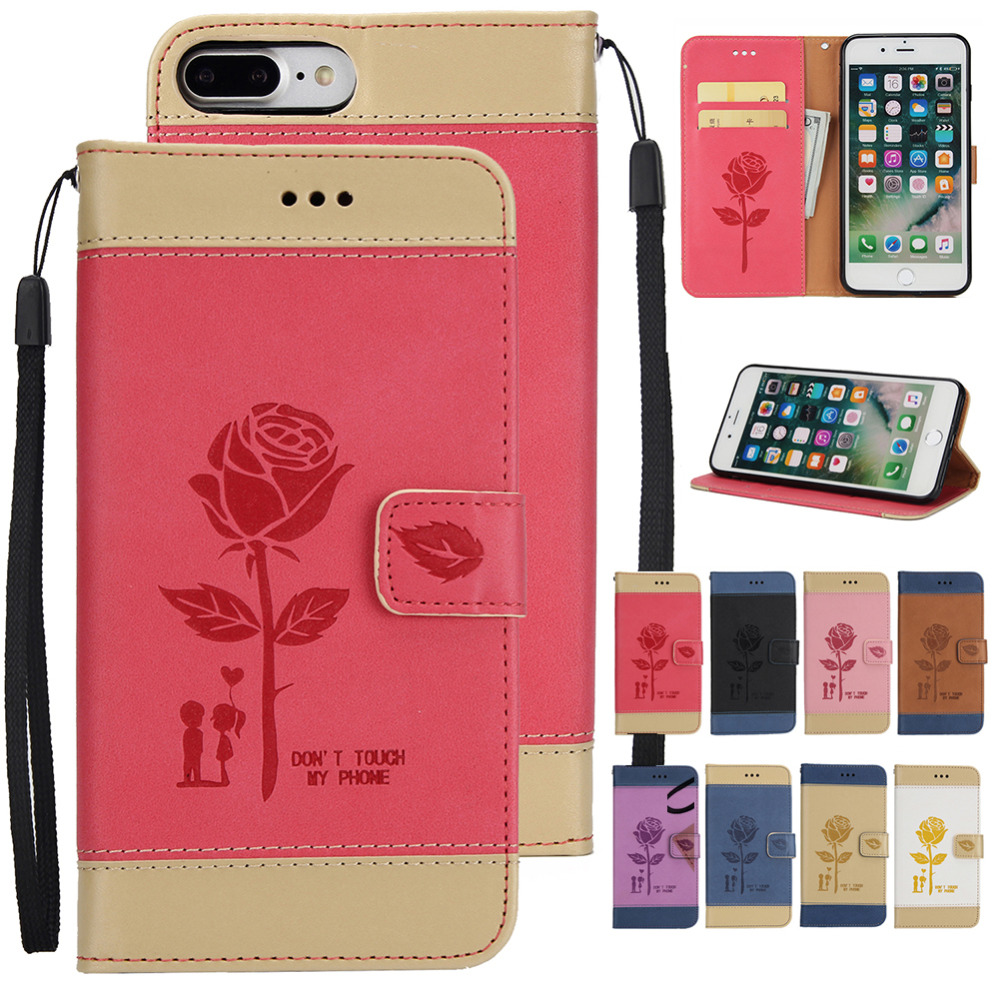 Wallet Case Flip PU Leather Cover for Apple iPhone 7 Plus / 8 Plus Phone Case, Magnet Cover Kickstand w/ Hand Strap & Card Slots