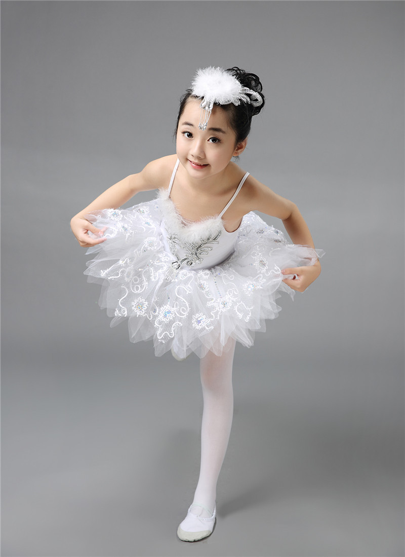 Ballet Dress&Headwear&<font><b>Glove</b></font> Children Elegant Classic White Swan Lake Perform Stage Dress Dance Ballet Tutu Ballet Costume
