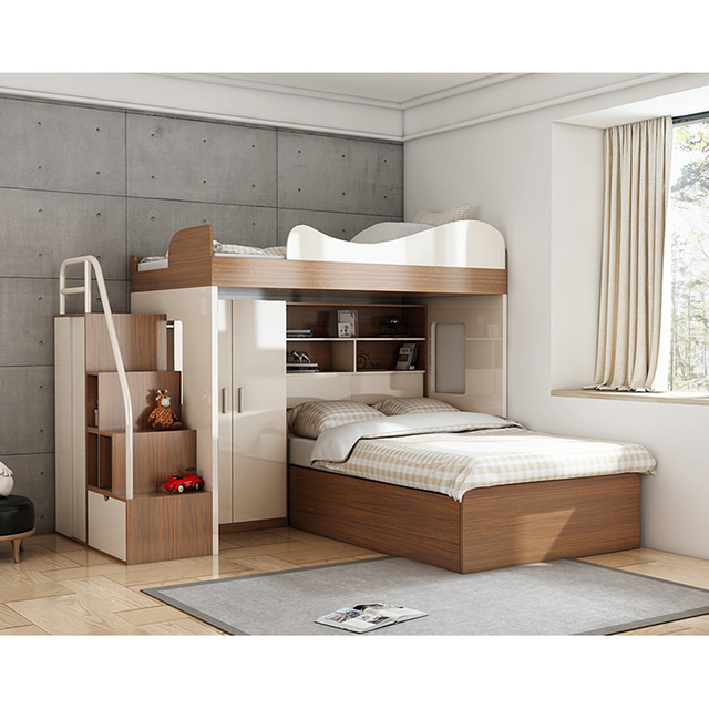 Cbmmart Space Saving Kids Twin Loft Bunk Bed With Desk And Wardrobe