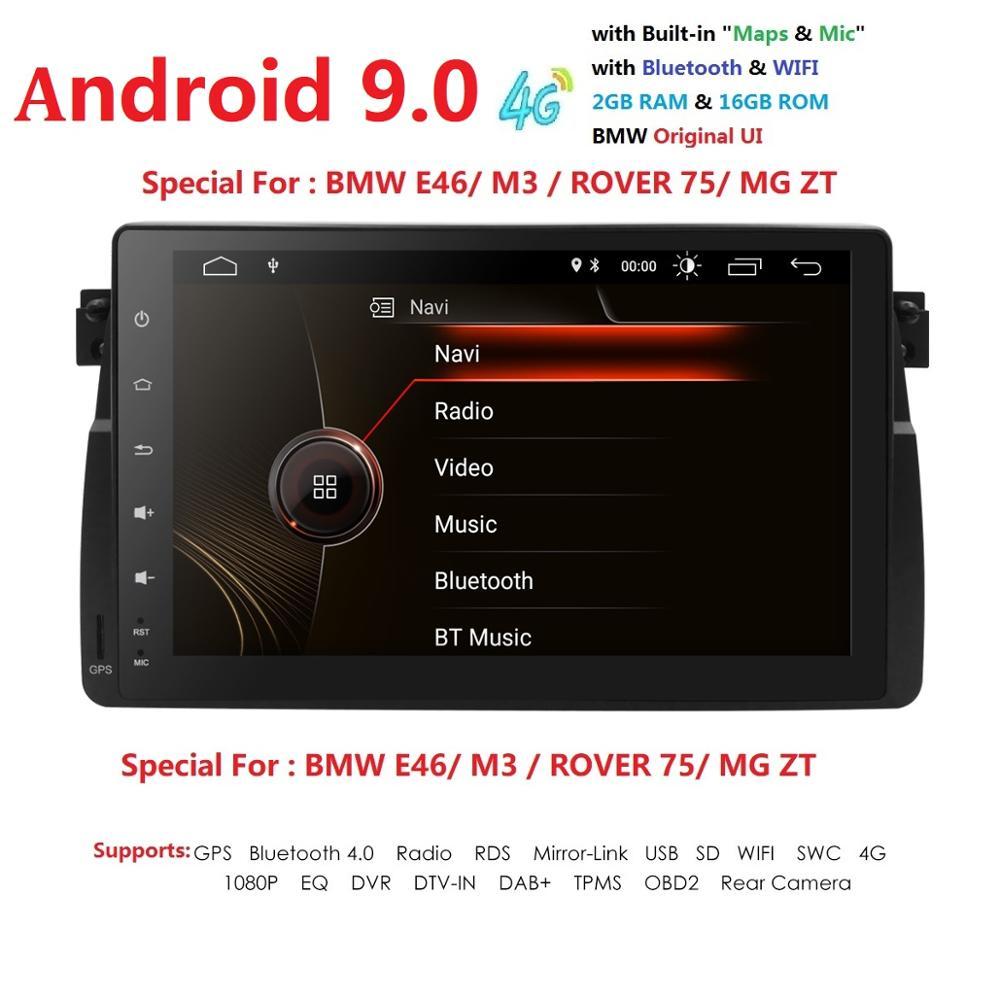 Voiture 1 din radio android 9.0 GPS Navi pour BMW E46 M3 318i 325 320i autoradio navigation unité de tête multimédia vidéo stéréo 2 Gb Ram