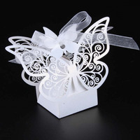 Wholesale 100X White Butterfly Wedding Favor Box Candy Box Wedding Favors Gifts Wedding Supplies Wedding Box
