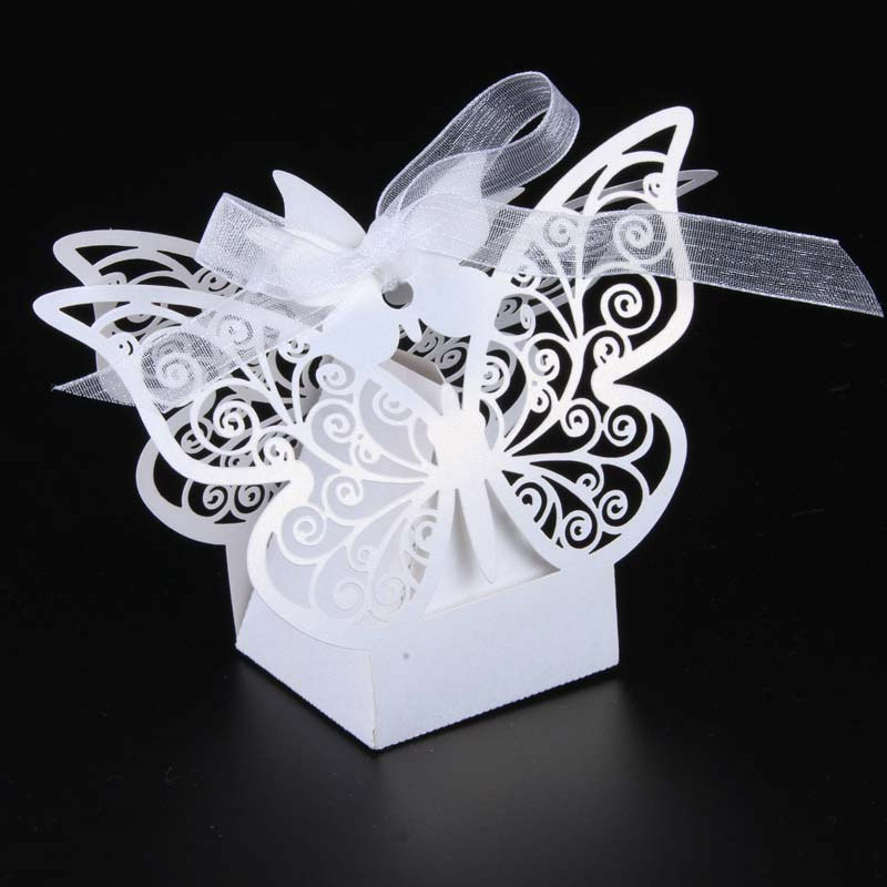 50pcs White Laser cut Butterfly Wedding favor box candy box gift box wedding favors event party supplies wedding decoration