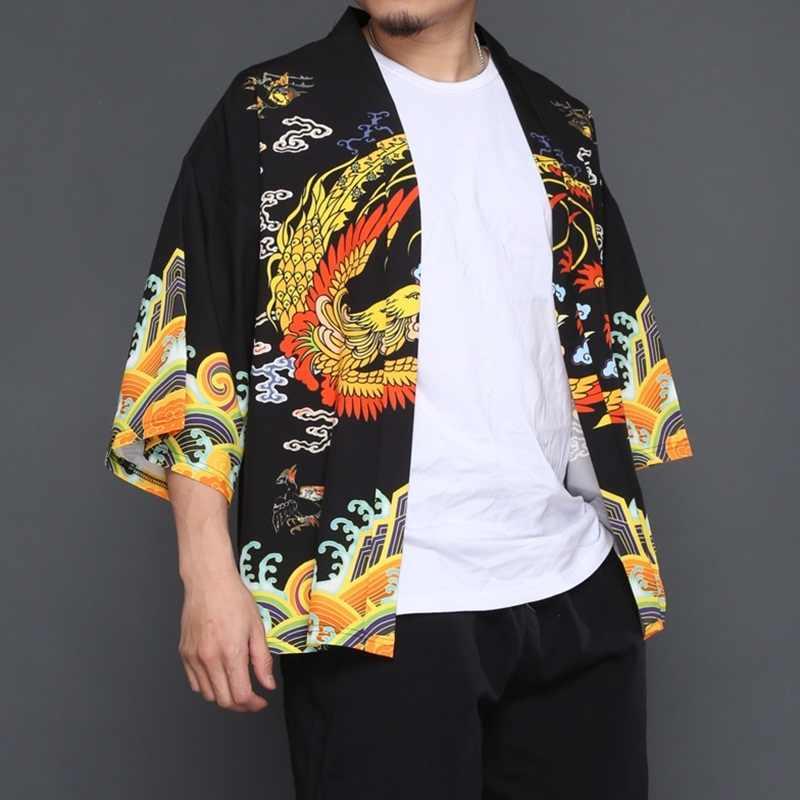 Vêtements chinois traditionnels décontracté hommes casual cardigans en vrac kimono cardigan kimono japonais hommes haori mâle yukata TA246