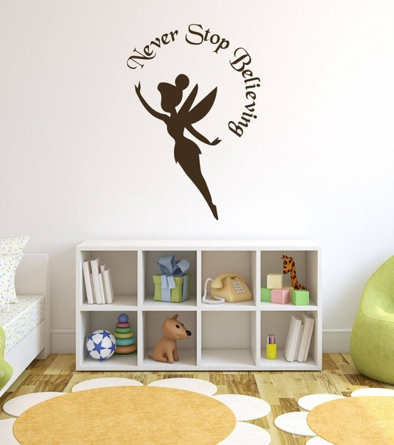 Tinkerbell Wall Decal Quotes Never Stop Believing Pixie Pattern Wall  Stickers For Kids Rooms Girls Bedroom