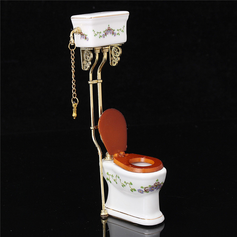 1:12 Dollhouse Miniature Furniture Bathroom Toilet  White Porcelain Closestool